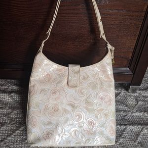 Vintage Brahmin tooled rose shoulder bag